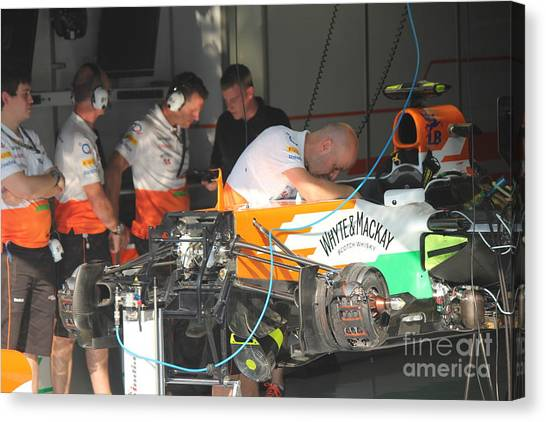 Inside The Force India Garage Canvas Print