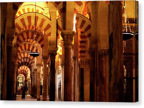 Canvas Print featuring the photograph Inside The Mezquita by Lorraine Devon Wilke