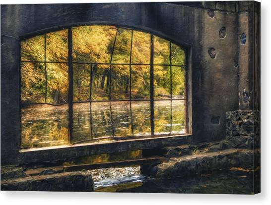 Autumn Pond Canvas Print - Inside The Old Spring House by Scott Norris
