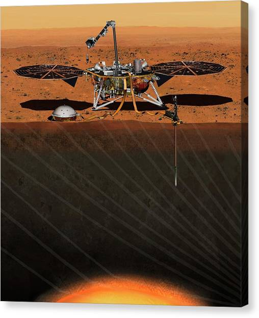 Insight Lander On Mars Canvas Print by Nasa/jpl-caltech