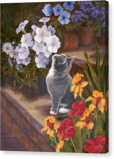 Daffodils Canvas Print - Inspecting The Blooms by Evie Cook