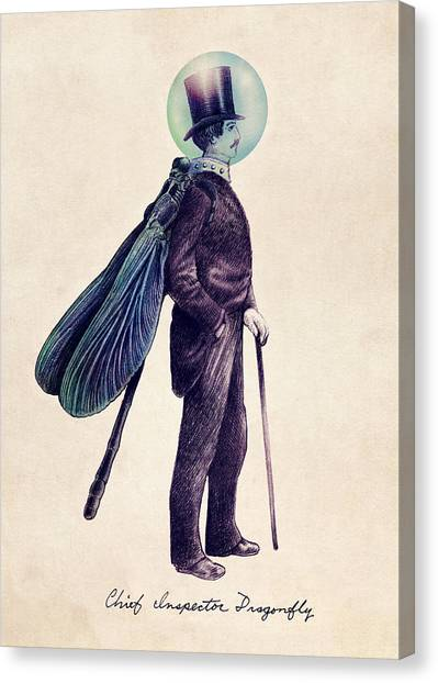 Whimsical Canvas Print - Inspector Dragonfly by Eric Fan