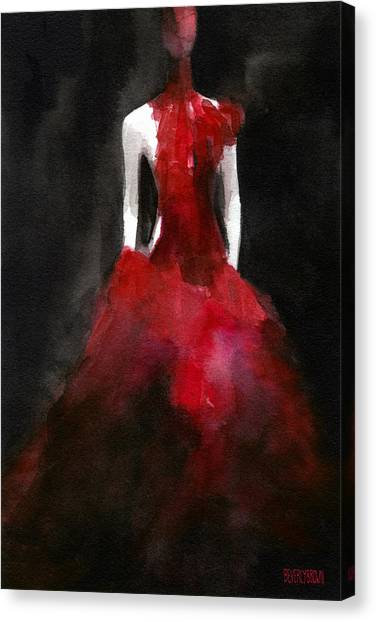 Brown Canvas Print - Inspired By Alexander Mcqueen Fashion Illustration Art Print by Beverly Brown