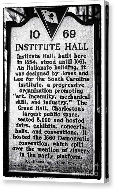 Institute Hall Memorial Canvas Print by John Rizzuto