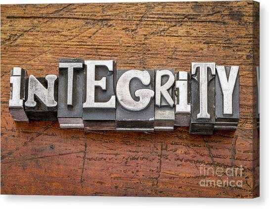 Integrity Word In Metal Type Canvas Print