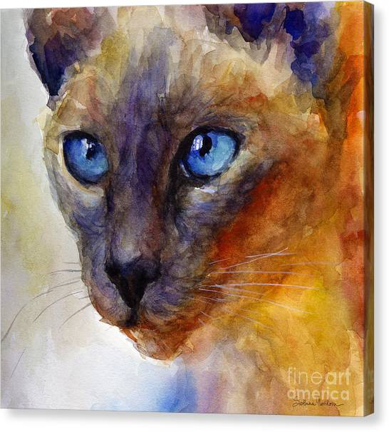 Siamese Canvas Print - Intense Siamese Cat Painting Print 2 by Svetlana Novikova