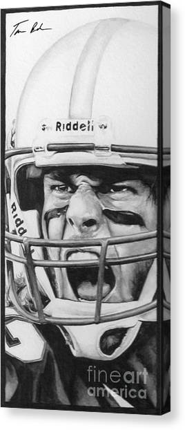 Superbowl Canvas Print - Intensity Tom Brady by Tamir Barkan