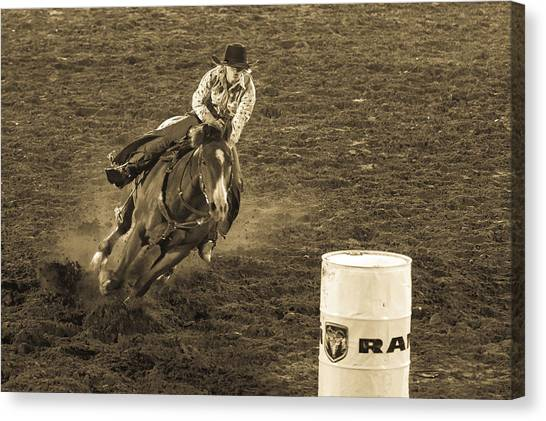 Barrel Racing Canvas Print - Intent by Caitlyn  Grasso