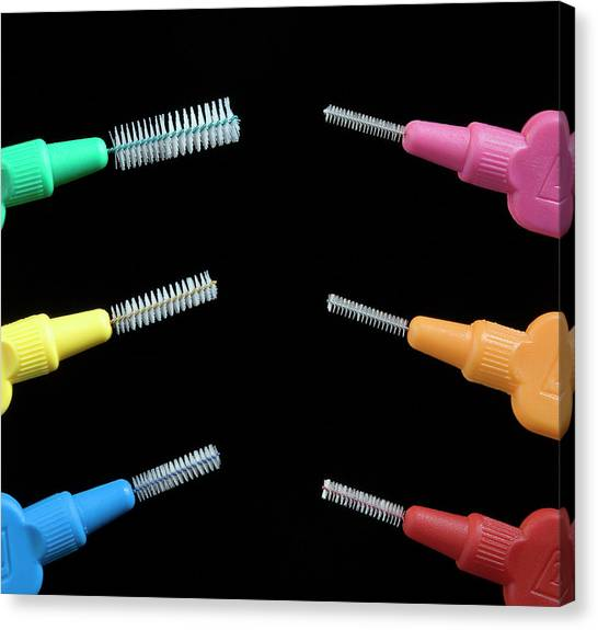 Toothbrush Canvas Print - Interdental Brushes by Adam Hart-davis/science Photo Library
