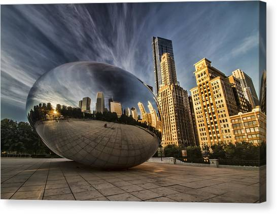 Cloudgate Canvas Print - Interesting Clouds Wrapped Around Chicago's Cloudgate by Sven Brogren