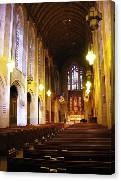 Interior - Egner Memorial Chapel - Muhlenberg College Canvas Print by Jacqueline M Lewis