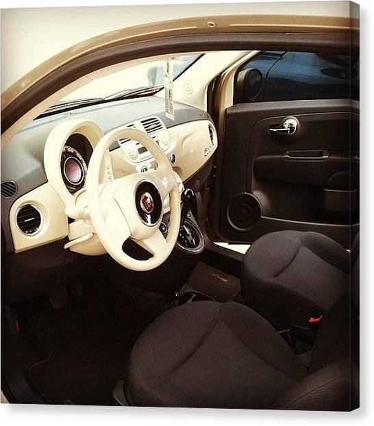 Ivory Canvas Print - #interior #fiat #car #new #white #ivory by Carlee Ortiz
