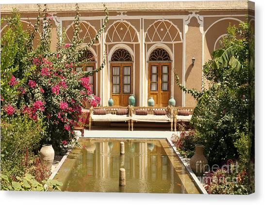 Interior Garden With Pond In Yazd Iran Canvas Print