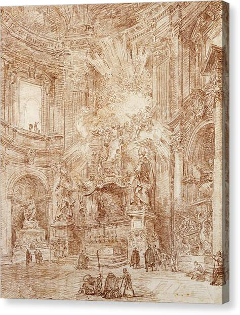 House Of Worship Canvas Print - Interior Of A Church  by Hubert Robert