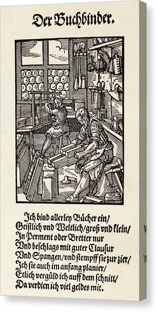 Binders Canvas Print - Interior Of A German Book- Binding by Mary Evans Picture Library