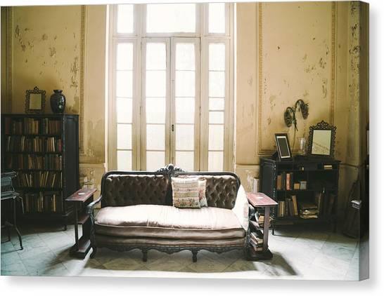 Interior Of Abandoned Ornate Colonial Villa Canvas Print by Nikada