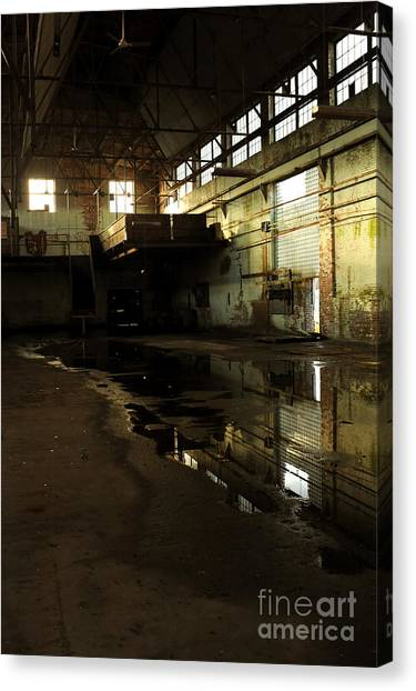 Warehouses Canvas Print - Interior Of An Abandoned Factory by HD Connelly