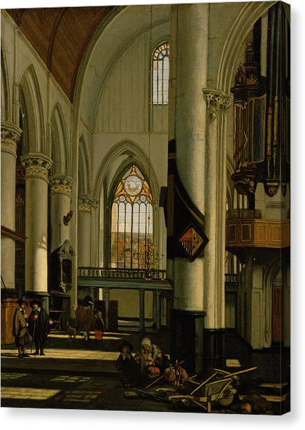 House Of Worship Canvas Print - Interior Of An Imaginary Protestant Gothic Church by Emanuel de Witte