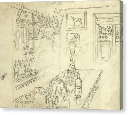 Interior Of Jack Mccann's Bar Canvas Print by Carl Oscar August Erickson