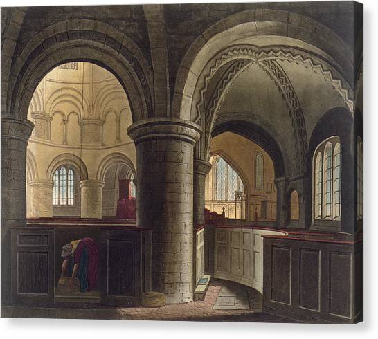 Romanesque Art Canvas Print - Interior Of The Church Of The Holy by Augustus Charles Pugin