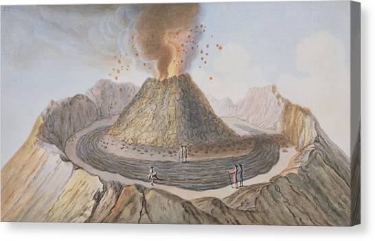 Mount Vesuvius Canvas Print - Interior Of The Cone Of Vesuvius Before by Pietro Fabris
