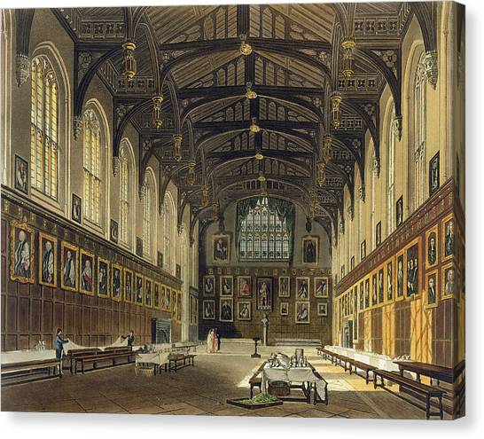 Vault Canvas Print - Interior Of The Hall Of Christ Church by Augustus Charles Pugin