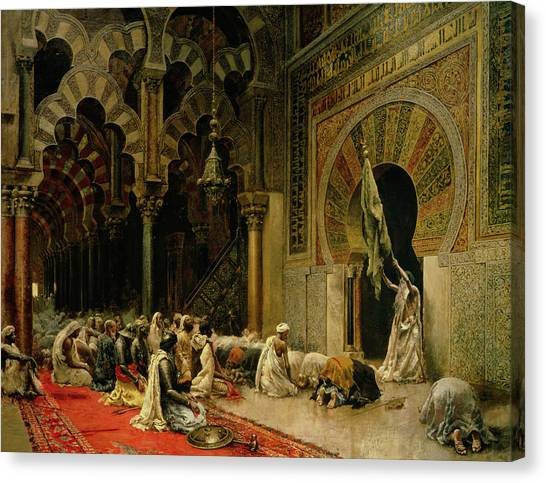 Muslim Canvas Print - Interior Of The Mosque At Cordoba by Edwin Lord Weeks
