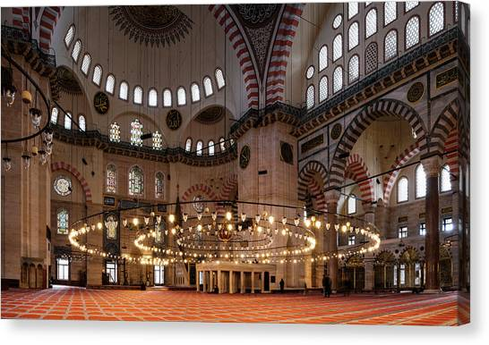Suleymaniye Canvas Print - Interior Of The Suleymaniye Mosque by Panoramic Images