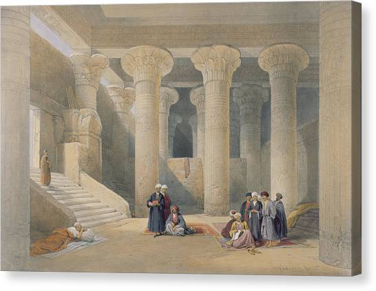 Egyptian Art Canvas Print - Interior Of The Temple At Esna, Upper Egypt, From Egypt And Nubia, Engraved By Louis Haghe by David Roberts