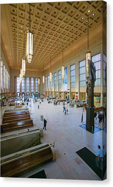 Amtrak Canvas Print - Interior View Of 30th Street Station by Panoramic Images