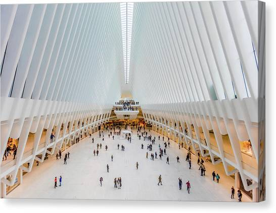American Steel Canvas Print - Interior View Of Oculus Transportation by Panoramic Images