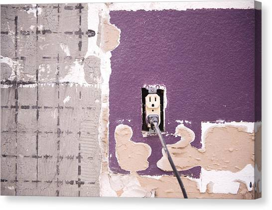 Drywall Canvas Print - Interior Wall And Outlet by Joe Belanger