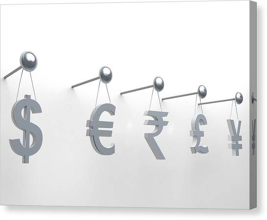 Yen Canvas Print - International Currencies Hanging On Nail by Fanatic Studio / Science Photo Library