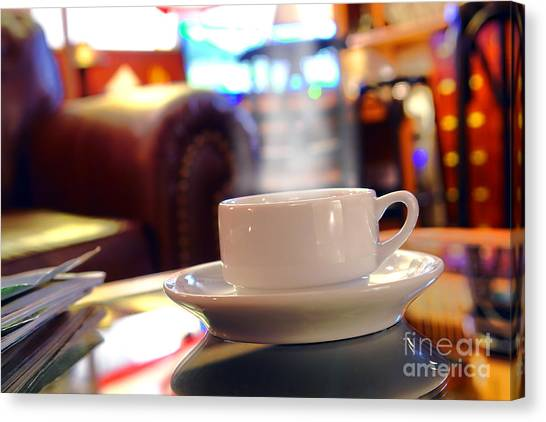Coffee Shops Canvas Print - Internet Cafe by Olivier Le Queinec