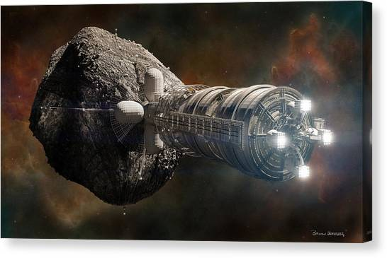 Space Ships Canvas Print - Interstellar Colony Maker by Bryan Versteeg