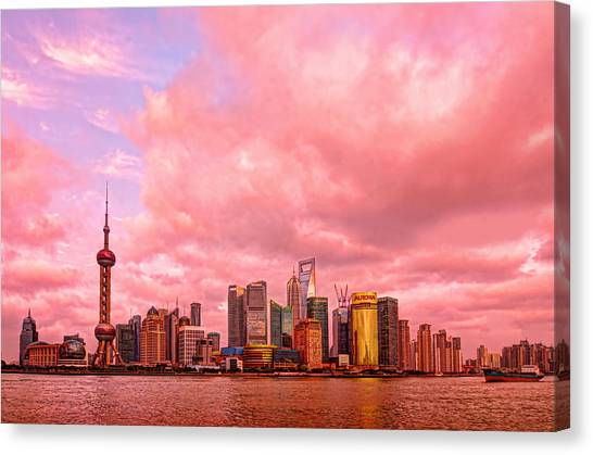 Shanghai Skyline Canvas Print - Into The Future by Midori Chan