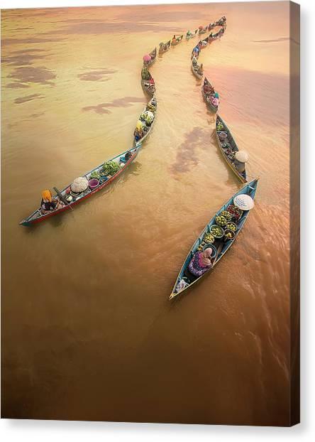 Canoe Canvas Print - Into The Light by Fauzan Maududdin