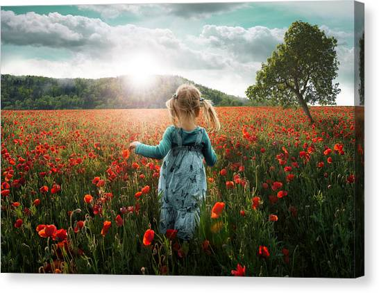 Flower Girl Canvas Print - Into The Poppies by John Wilhelm