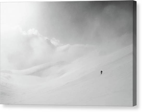 Skiing Canvas Print - Into The White Darkness by Peter Svoboda, Mqep