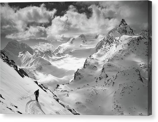 Skiing Canvas Print - Into The Wild by Jaff Mazouni