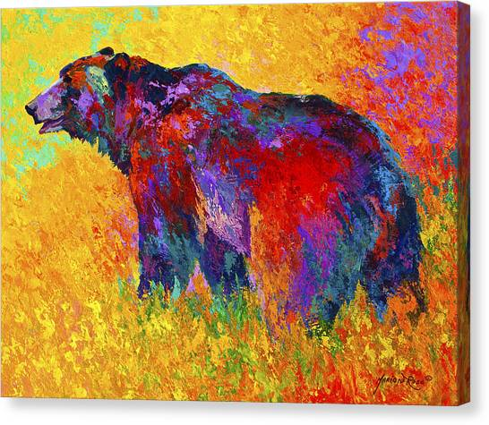 Bears Canvas Print - Into The Wind by Marion Rose