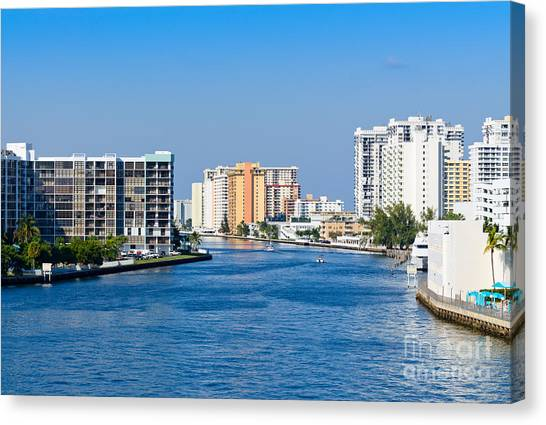 Intracoastal Waterway In Hollywood Florida Canvas Print