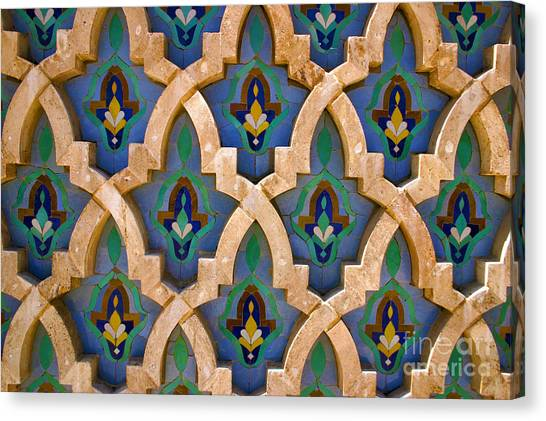 Intricate Zelji At The Hassan II Mosque Sour Jdid Casablanca Morocco Canvas Print by PIXELS  XPOSED Ralph A Ledergerber Photography