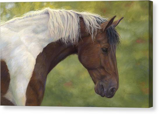 White Horse Canvas Print - Intrigued by Lucie Bilodeau