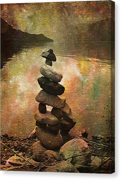 Inukshuk - Northern Lights Night Canvas Print