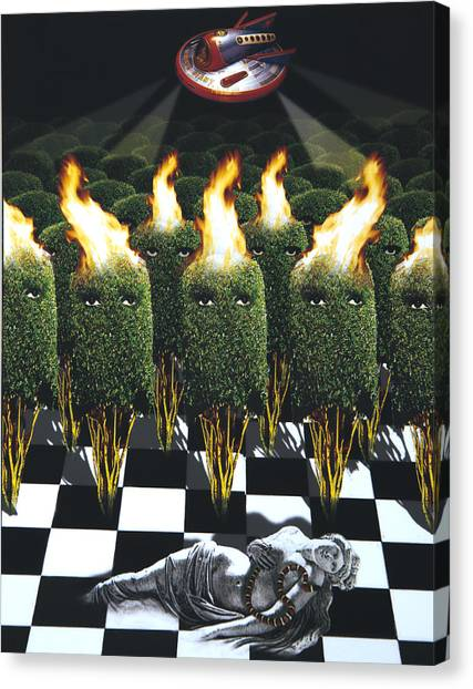 Monster Ufo Canvas Print - Invasion Of The Alien Bushes by Larry Butterworth