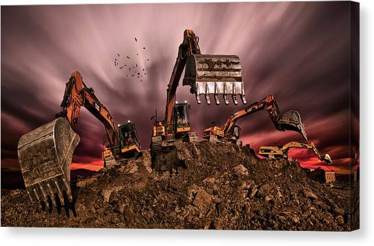 Excavators Canvas Print - Invasion by Peter Majkut