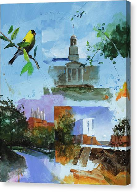 University Of Iowa Canvas Print - Iowa City Montage by Stan Fellows