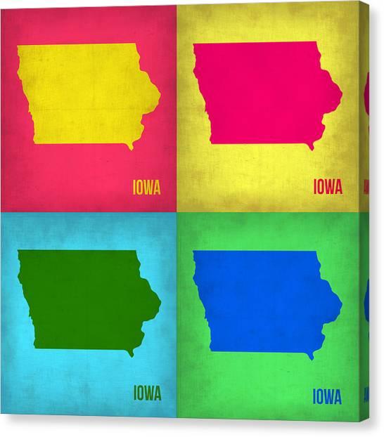 Iowa Canvas Print - Iowa Pop Art Map 1 by Naxart Studio