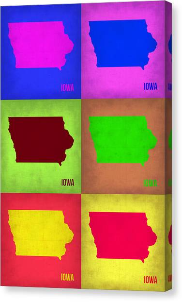 Iowa Canvas Print - Iowa Pop Art Map 2 by Naxart Studio